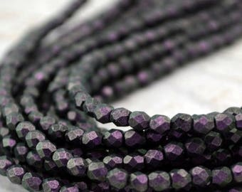 Summer Sale Faceted Round POLYCHROME BLACK CURRANT Czech Glass Round Beads 3mm Qty 50 Deep Purple, Firepolished Small
