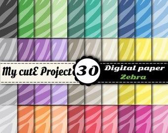 50% OFF Digital paper Zebra - Animal Prints - Scrapbook paper - DIGITAL PAPER animal prints - Scrapbooking paper, graphic design - Commercia