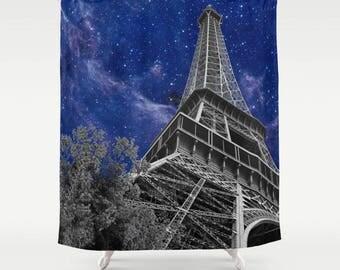 Paris Nights Shower Curtain -  Eiffel Tower, Galaxy Blue Sky,  stars, night sky, milky way, modern,  France,  bathroom - home decor