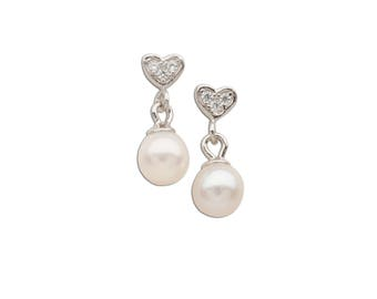 Sterling Silver Heart Earring with White Dangling Pearl Gift for Flower Girl with Screw Backs (SSE-Heart w/dangling Pearl)