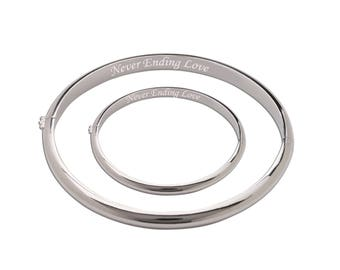 """Sterling Silver Mom and Me Bangle Set """"Never Ending Love"""" with a Gift Box for Mother's Day Gift (TCMM-NEL)"""