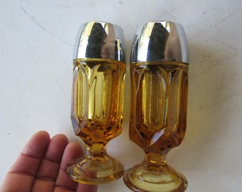 Amber Glass Footed Salt and Pepper Shakers