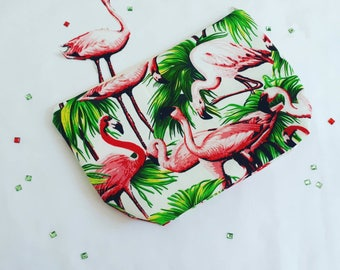 Handmade flamingo print makeup bag