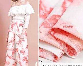 "White pink Jacquard Fabric Brocade Fabric Bridal Wedding Dress -FSMIL-53""wide/ 135 cm"