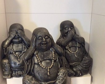 Handmade Plaster See no Evil Hear no Evil Speak no Evil Lucky Buddha's Ornament