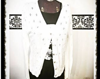 1980's White Knit Rockabilly Cardigan, by John Roberts, Size Medium Large, Original Vintage Pin Up Cardigan,  Grunge Courtney Love Cardigan
