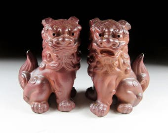 Pair of Wood Fired Bizen-ware Komainu, Shisa, Okinawan Shisa, Fine Arts Ceramics, Koedo