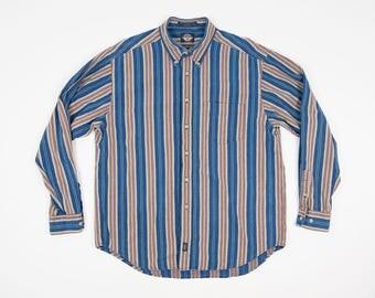 90s Dockers Shirt L - Vintage Striped Oxford Men's Large - Docker's Indigo Long Sleeve Button Down Shirt - Striped Denim Shirt L - 1990s