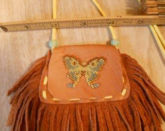 Hand Beaded Luna Moth Buckskin Medicine Bag