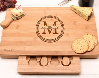 Personalised cheese board set, Wedding gift Gift for couples with names. Monogram Design
