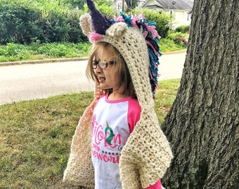 Unicorn Hooded Scarf, Unicorn Hood, Unicorn Scarf, Rainbow Unicorn, Velvet Acorn, Christmas Gift, Toddler Gift