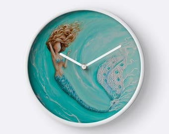 Mermaid wall clock,  aqua marine mermaid clock, mermaid art home decor, Original painting by Nancy Quiaoit at Nancys Fine Art
