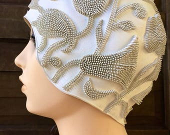 Vintage 50's Off White Textured Filigree Swim Cap