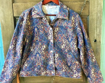 Vintage 90's Paisley Linen Jacket by Norm Thompson size Large