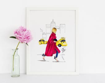 City Stroll (Fashion Illustration Print)
