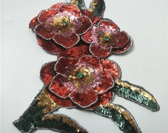 3D  flower sequins patch applique sew on patch vintage patch