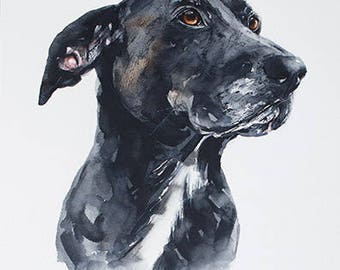 custom dog portrait, original watercolor painting, Black Labrador, dog or cat painting, handmade gift/present