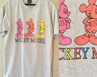 Vintage 1990's Three Mickey Mouse XL T-shirt Gray Pink Orange Yellow Blue by Velva Sheen Large Mickey
