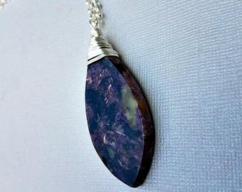 Purple charoite necklace-purple charoite pendant necklace-silver necklaces