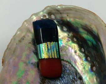 Fused glass iridescent pendant