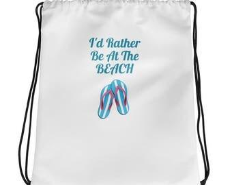 Rather Be At Beach Drawstring bag, Summertime Drawstring Bag, Beach Bag
