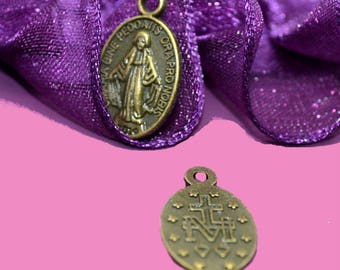 10 medals religious bronze 17x10mm