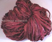 Pure Sari Silk, Pomegranate Mix, Per Yard, Recycled Sari Silk, Textile, Ribbon, Yarn, Silk, Sari silk, ArtWear Elements, 217