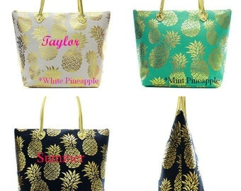 Personalized Tote Bag  Metallic Gold Monogrammed Tote Bag  Large Tote Bag  Beach Bag  Weekender