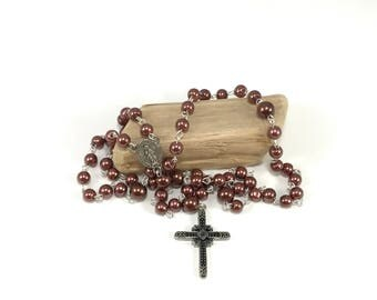 LAST CHANCE Glass Pearl Rosary with Silver Cross; Copper Brown Catholic Rosary