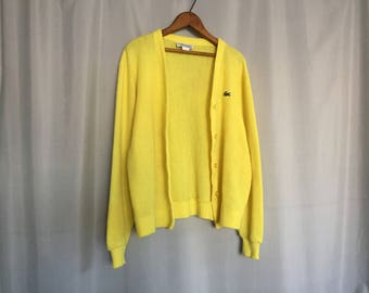 Yellow Cardigan Lacoste Sweater Vintage size XS or Small