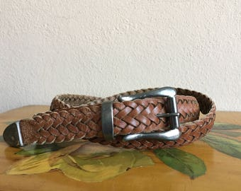 Brown Leather Belt Vintage Woven Braided Distressed size 34