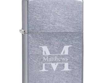Personalized Zippo Satin Chrome Lighter - Personalized Brushed Zippo Lighter - Engraved Zippo -  Groomsmen Gift - Gifts for men -  ZP207