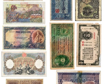 Foreign Currency Digital Collage Old Money Digital Printable Collage Sheet Vintage Ephemera from Europe Asia  Instant Download