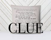 Clue movie quote pillow cover - 18x18inch pillow cover - machine washable - eco friendly inks - movie quotes