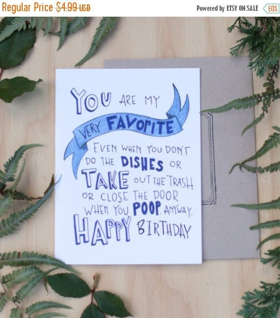 ON SALE Funny birthday card for boyfriend, husband, you are my very favorite thing, hipster card, hand lettered original design