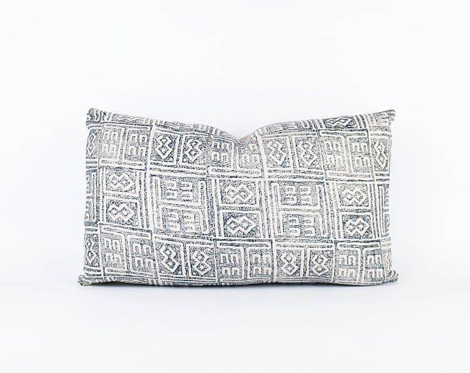 Indigo Blue Hand Block Printed African Linen Textile Pillow Cover 12x20