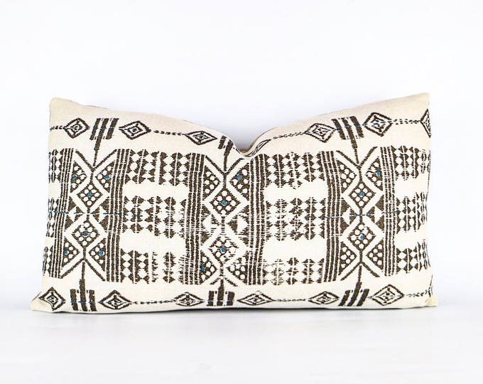 African Tribal Linen Lumbar Pillow Cover 14x24