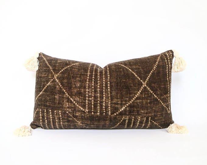 Handmade Heavy Weight Brown Tribal African Print Linen With Tassels Lumbar Pillow Cover 14x24