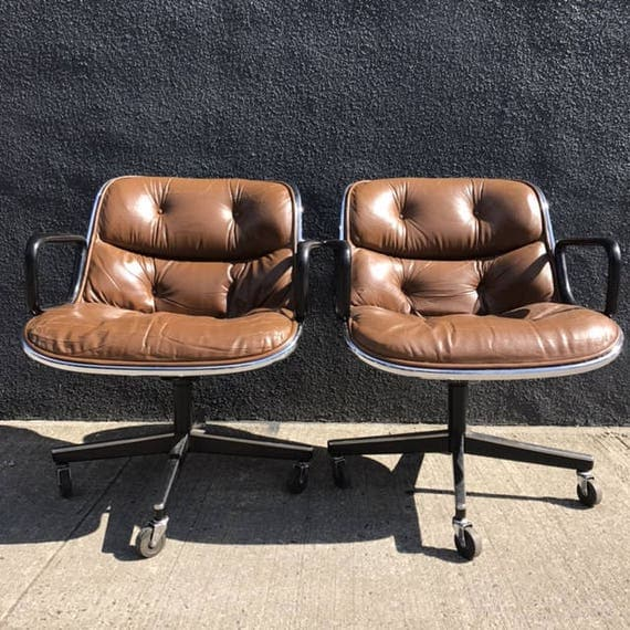 Knoll Pollock Chairs in Brown Leather