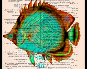 Neon Green Fish Art Beautifully Upcycled Vintage Dictionary Page Book Art Print, Geeky Art Print