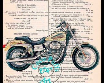 2006 Cream DYNA Super Glide HD Motorcycle Art - Vintage Dictionary Book Page Art Upcycled Page Art Mixed Media Art Drawing