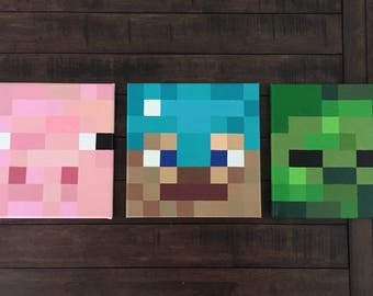 Minecraft Inspired Wall Decor Set of 3