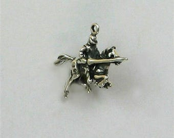Sterling Silver 3-D Knight on a Horse Charm