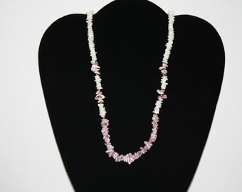 Large Chunky Shell Necklace 23 White and Purple with gold beads