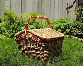 Vintage large picnic basket - Retro Flip-Top Harvest basket - Camping basket - Vintage outdoor style - Wicker basket