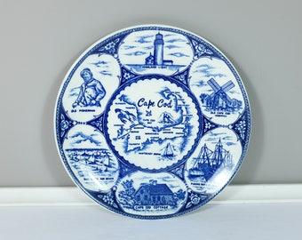 Vintage Cape Cod souvenir plate - Retro Cape Cod Souvenir blue transferware plate - Cape Cod souvenir plate