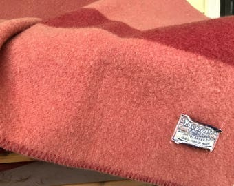 Vintage Pure Virgin Wool Blanket Polar Nite Golden Dawn/72 x 84 inches/Rosy pink with Burgundy Stripe/Midcentury 1950s 60s/Cabin/Lodge/Camp