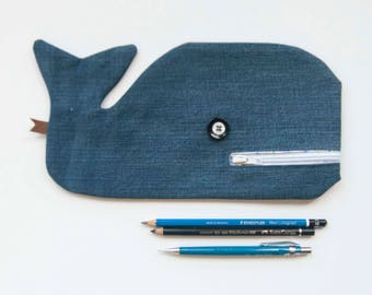 Moby dick blue jeans, pencil case whale fjord Saguenay, jeans, eco-friendly fashion, coop processing machine mountains