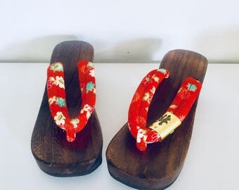 80s Clog Sandals Wood Platform Asian Thongs Size 7 36 37