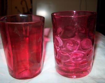 2 Antique Vintage Cranberry Glass Tumblers, Glasses